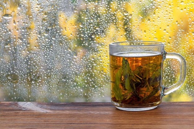 A cup of mint tea before autumn raindrop window.