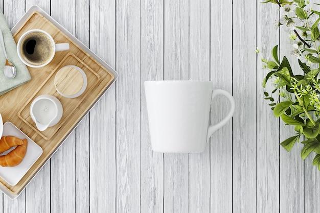 木製の背景にカップのモックアップ