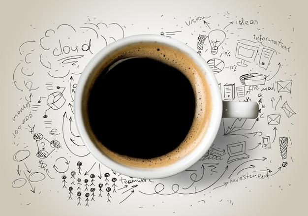 낙서 배경에 컵 od 뜨거운 커피