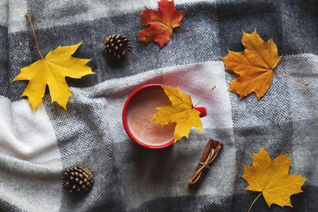 秋のカエデの葉、松ぼっくり、シナモンスティックと格子縞の毛布にココアのカップ
