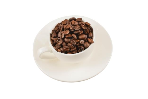 커피와 원두 커피 한잔.