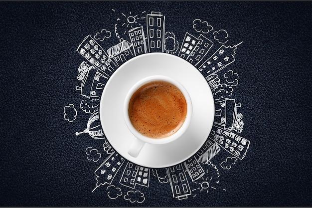 Чашка кофе и концепция современного города