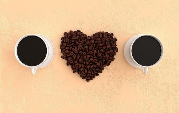 커피 한 잔과 현실적인 커피 콩 심장은 평평한 3d 렌더링 배경