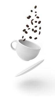 白い背景の上の空中に浮かぶコーヒーと種子のカップ