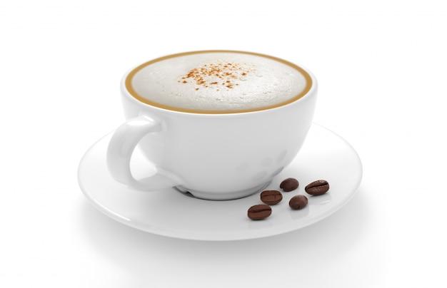 白い背景で隔離のコーヒー豆とコーヒーのカプチーノカップ