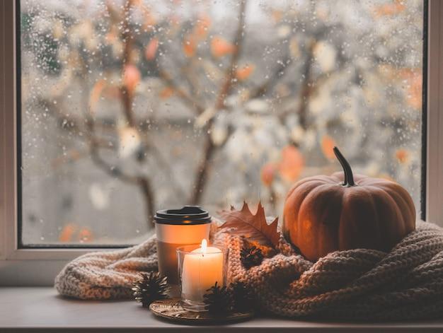 커피, 호박, 말린 단풍 창에 나뭇잎. 가 조성.