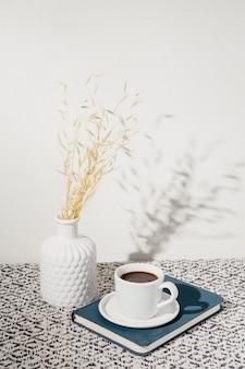 議題とコーヒーのカップ