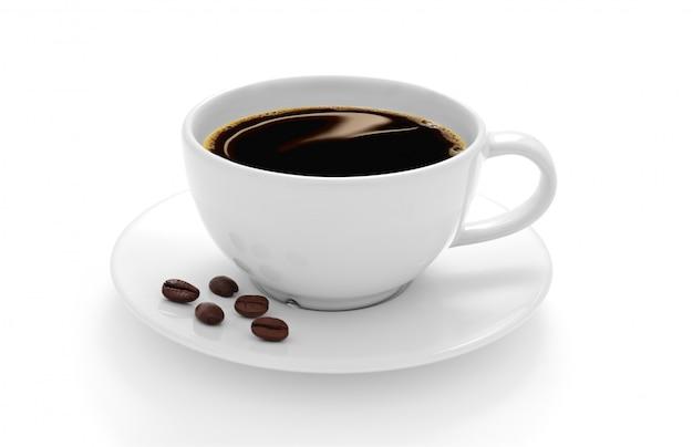 白い背景で隔離のコーヒー豆とコーヒーのカップ