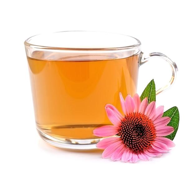 白い背景で隔離のエキナセア茶のカップ