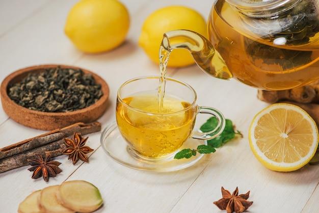 白い木製の背景にレモンと蜂蜜と生姜茶のカップ。