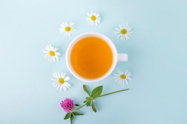 青い背景に花カモミールとハーブティーのカップ。オーガニックフローラル、グリーンアジアンティー。季節の病気の薬草と風邪、インフルエンザ、熱の治療。テキスト用のコピースペース。