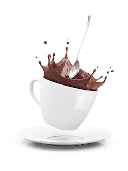 クラウンスプラッシュとホットチョコレートのカップ