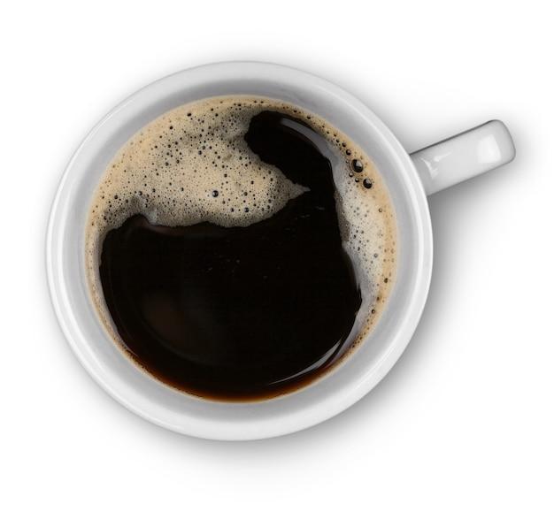 흰색 바탕에 뜨거운 커피 한 잔, 상위 뷰