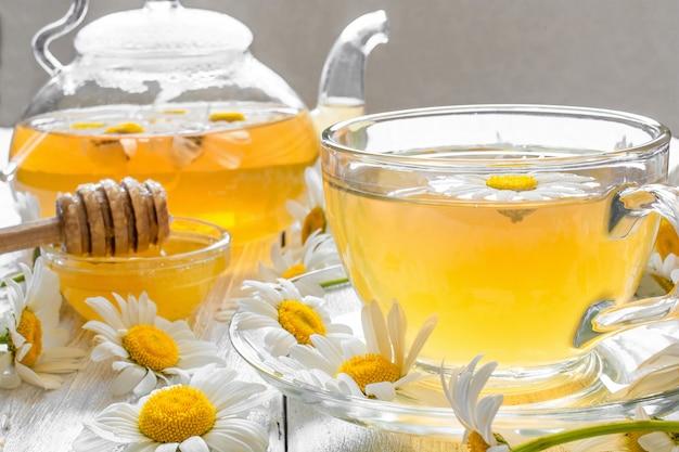 透明なカップとティーポットに蜂蜜と薬用カモミールティーのカップ