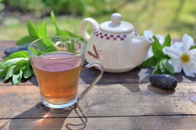 Чашка мятного чая и чайник на деревянном столе в саду среди свежих листьев