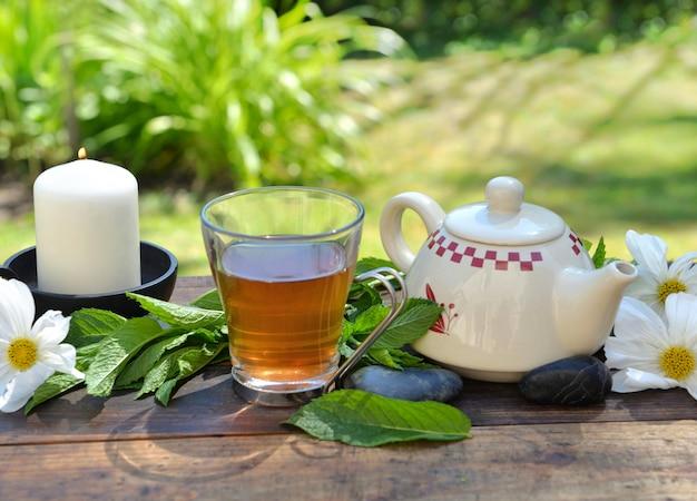 Чашка мятного чая и чайник на деревянном столе в саду