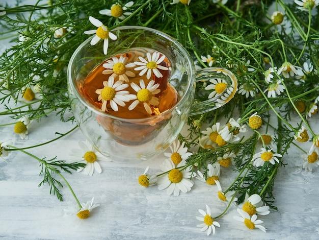 회색에 카모마일 꽃과 천연 허브 차 한잔