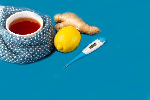 お茶、ジンジャー、レモン、青の温度計