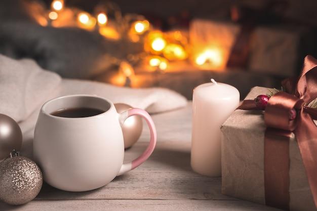 크리스마스 시간에 차 한잔