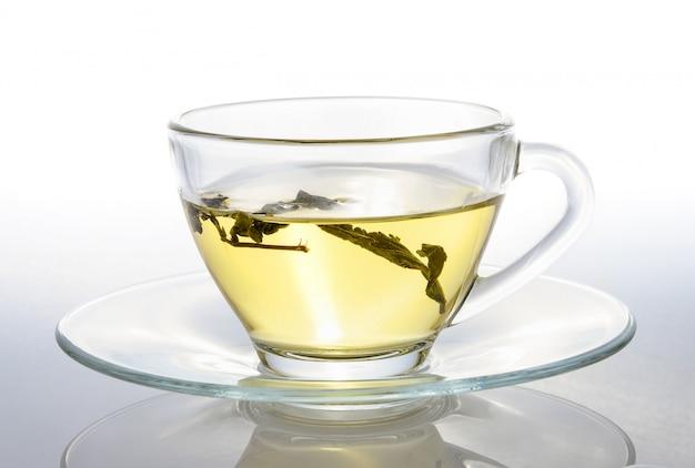 白い背景の上のお茶のカップ