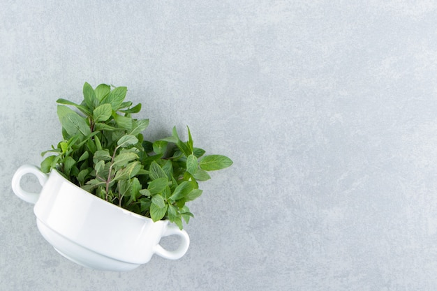 A cup of organic mint , on the marble background.