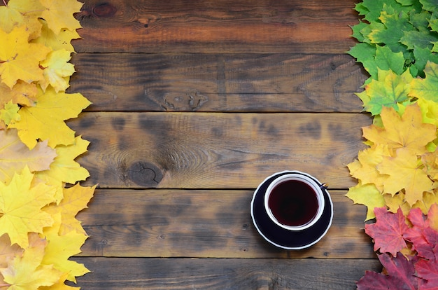 A cup of tea among a set of yellowing fallen autumn leaves