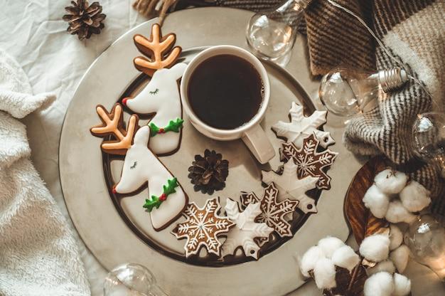 Cup tea and christmas cookies.
