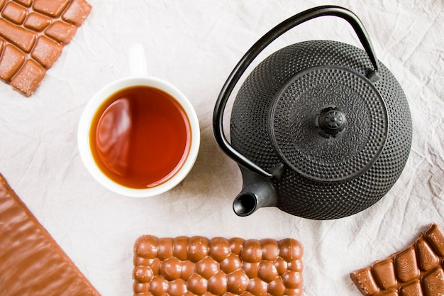 Cup of tea, iron teapot and chocolate bars
