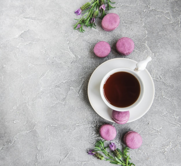 Cup of tea and macarons