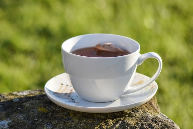 Cup of tea in morning put on stone