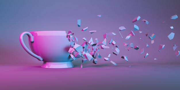 Cup for tea in neon light collapsing into small parts