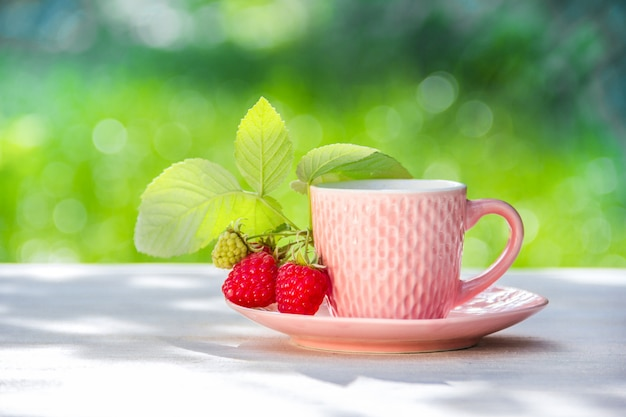 Cup of tea and raspberries on green natural background