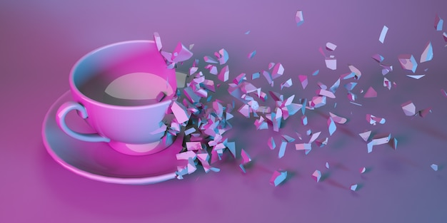 Cup for tea on a saucer in neon light collapsing into small parts