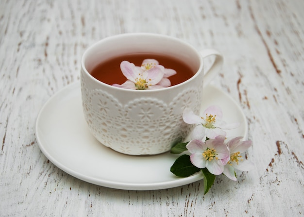 Cup of tea and spring blossom