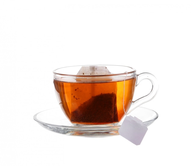 Cup of tea with bag isolated on white background