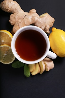 Cup of tea with ingredients