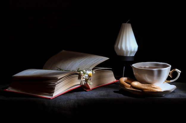 Cup of tea with open book and candle close up,