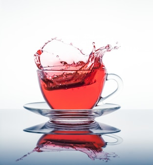 Cup of tea with splashes