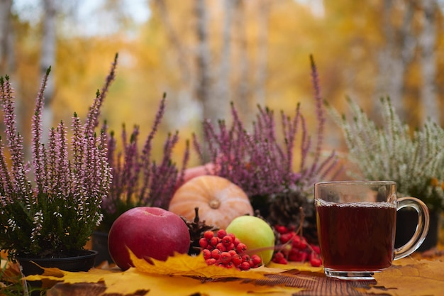 Cup of tea on a wooden table with autumn berries and vegetables