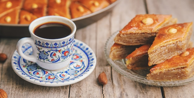 A cup of turkish coffee and baklava