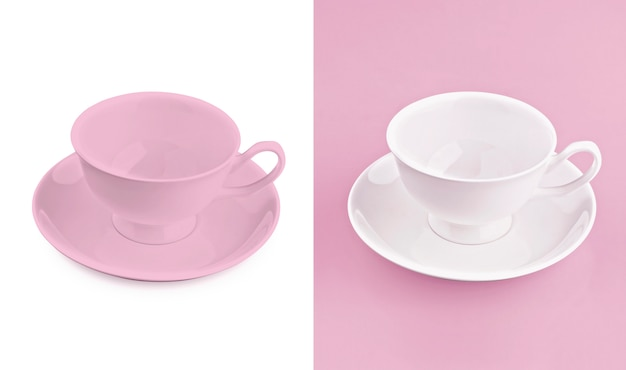 Cup on white & pink background