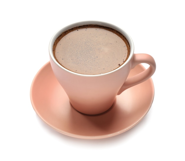 Cup with hot coffee on white