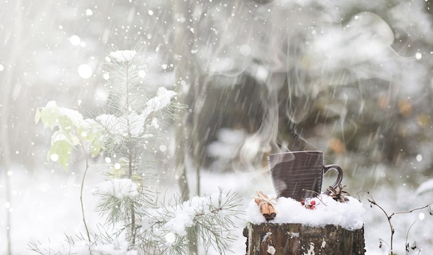 A cup with a hot drink in the winter forest. hot cocoa with cinnamon on the background of winter forest. first snow and hot chocolate.