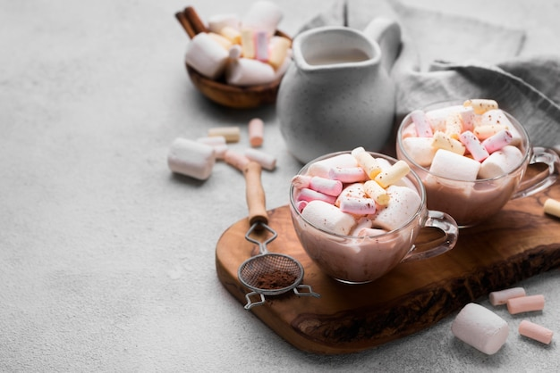Cup with hot marshmallow drinks