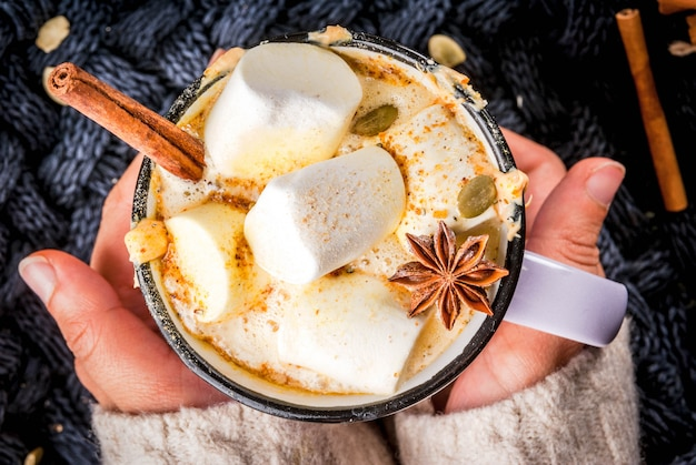 Cup with hot spicy pumpkin white chocolate, with marshmallow and cinnamon, anise