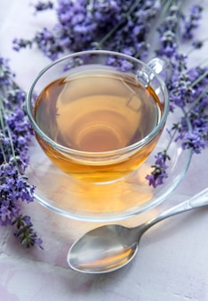 Cup with lavender tea and fresh lavender flowers on pink tiles background