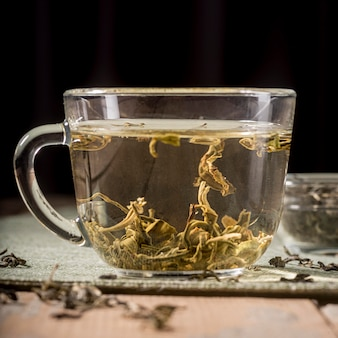 Cup with tea herbs