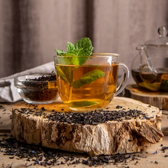 Cup with tea mint