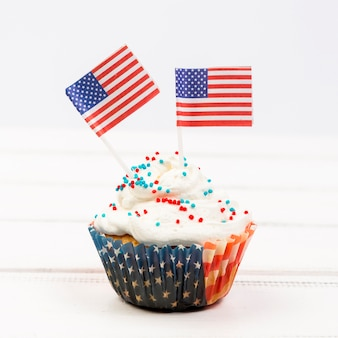 Cupcake decorated with american flags
