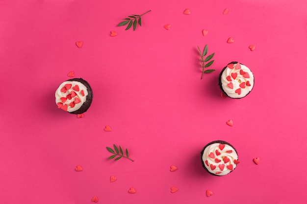 Cupcake decorated with hearts. love. valentine's day concept. copy-space, top view.